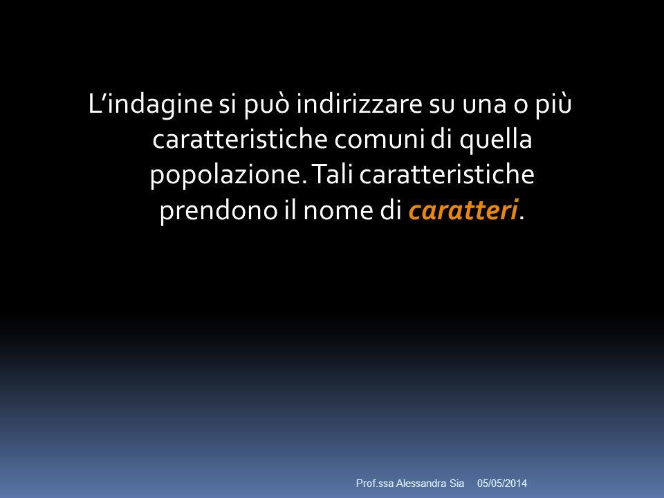 05/05/2014 Lindagine si può indirizzare su una o più caratteristiche comuni di quella popolazione.