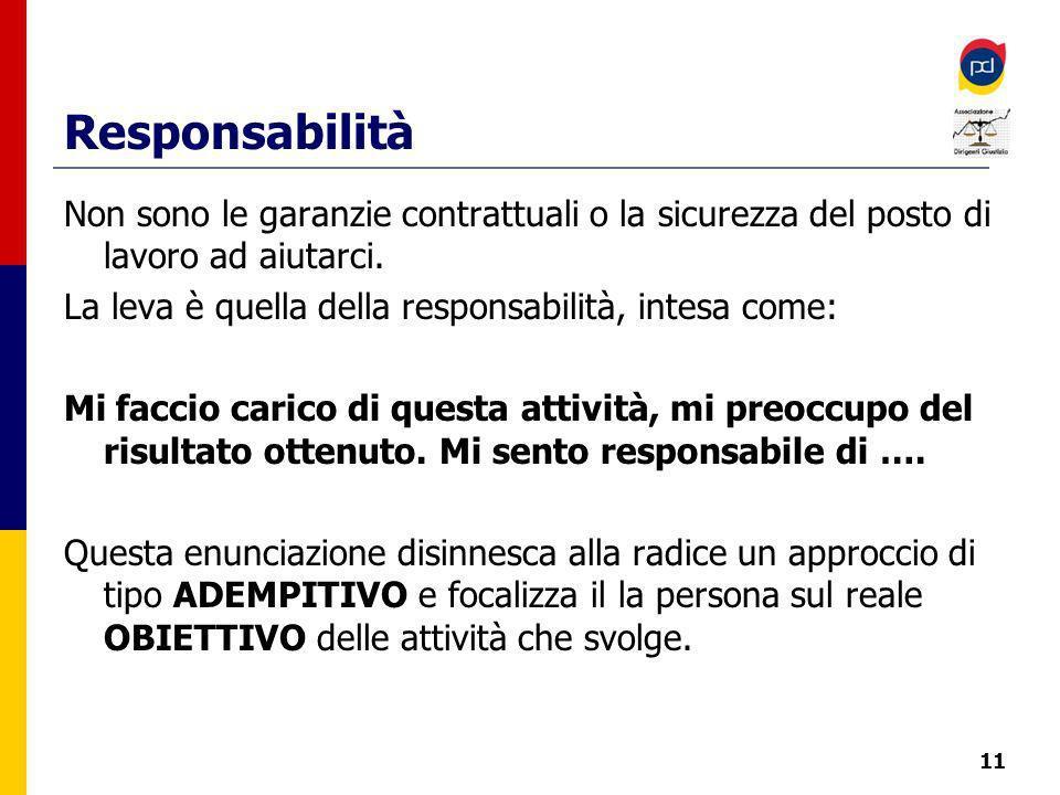 Responsabilità Non sono le garanzie contrattuali o la sicurezza del posto di lavoro ad aiutarci.