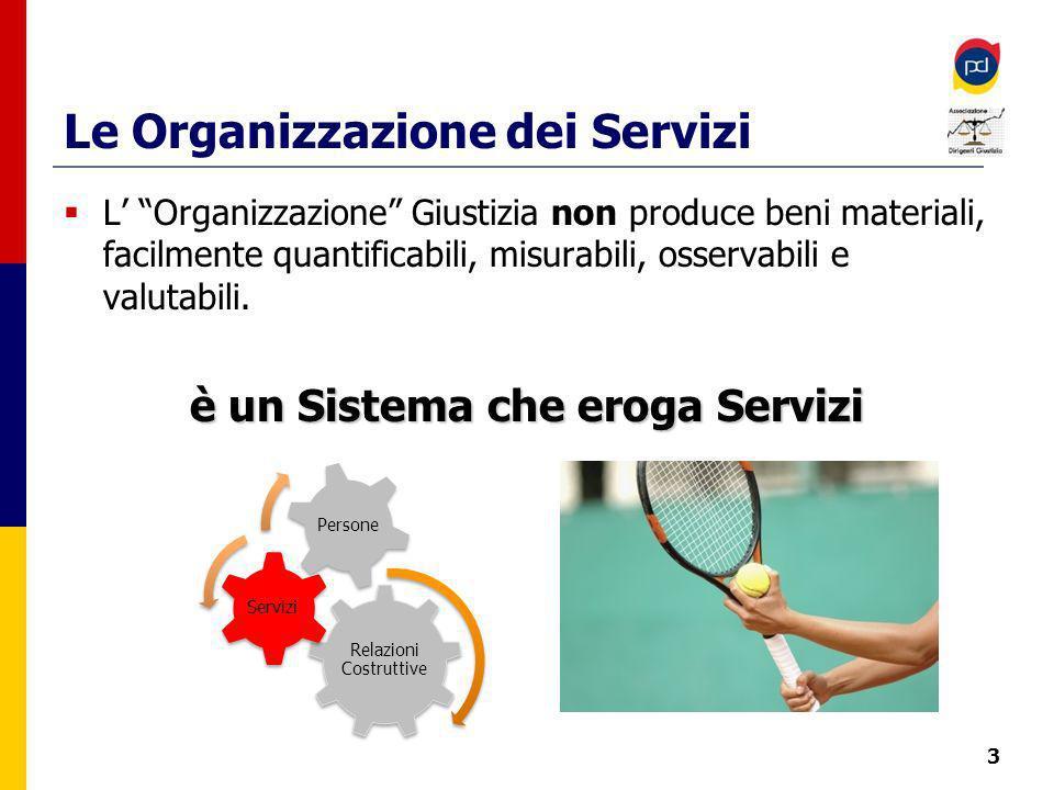 Le Organizzazione dei Servizi L Organizzazione Giustizia non produce beni materiali, facilmente quantificabili, misurabili, osservabili e valutabili.