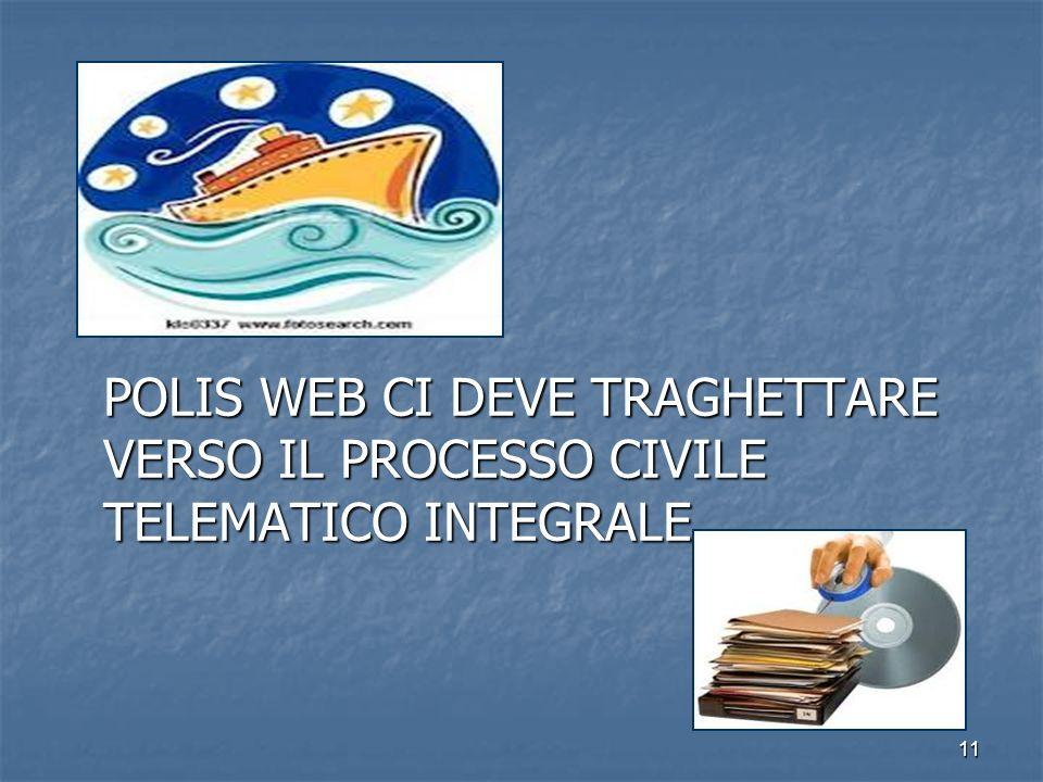 11 POLIS WEB CI DEVE TRAGHETTARE VERSO IL PROCESSO CIVILE TELEMATICO INTEGRALE
