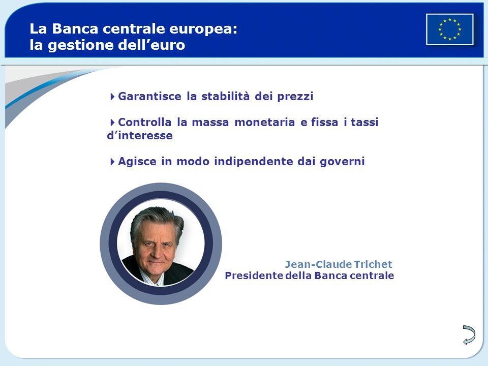 Garantisce la stabilità dei prezzi Controlla la massa monetaria e fissa i tassi dinteresse Agisce in modo indipendente dai governi La Banca centrale europea: la gestione delleuro Jean-Claude Trichet Presidente della Banca centrale