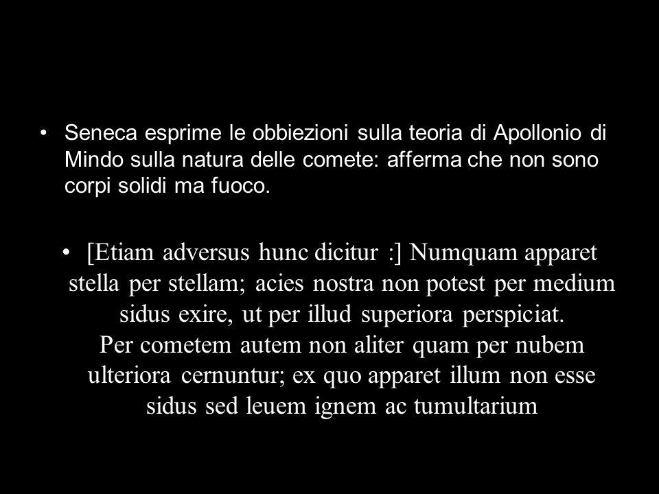 Seneca esprime le obbiezioni sulla teoria di Apollonio di Mindo sulla natura delle comete: afferma che non sono corpi solidi ma fuoco. [Etiam adversus