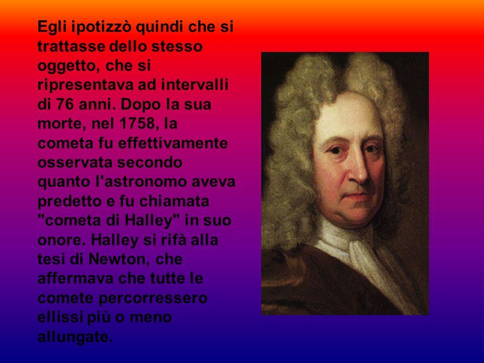 Egli ipotizzò quindi che si trattasse dello stesso oggetto, che si ripresentava ad intervalli di 76 anni. Dopo la sua morte, nel 1758, la cometa fu ef