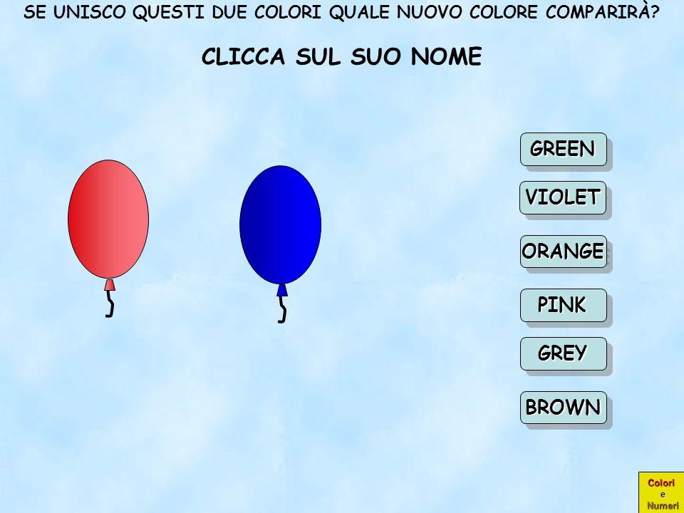 Colori e Numeri COMPLIMENTI! ORANGE CIOÈ ARANCIONE ORANGEORANGE GREEN PINK VIOLET BROWN GREY Scegli un Scegli un nuovo colore nuovo colore