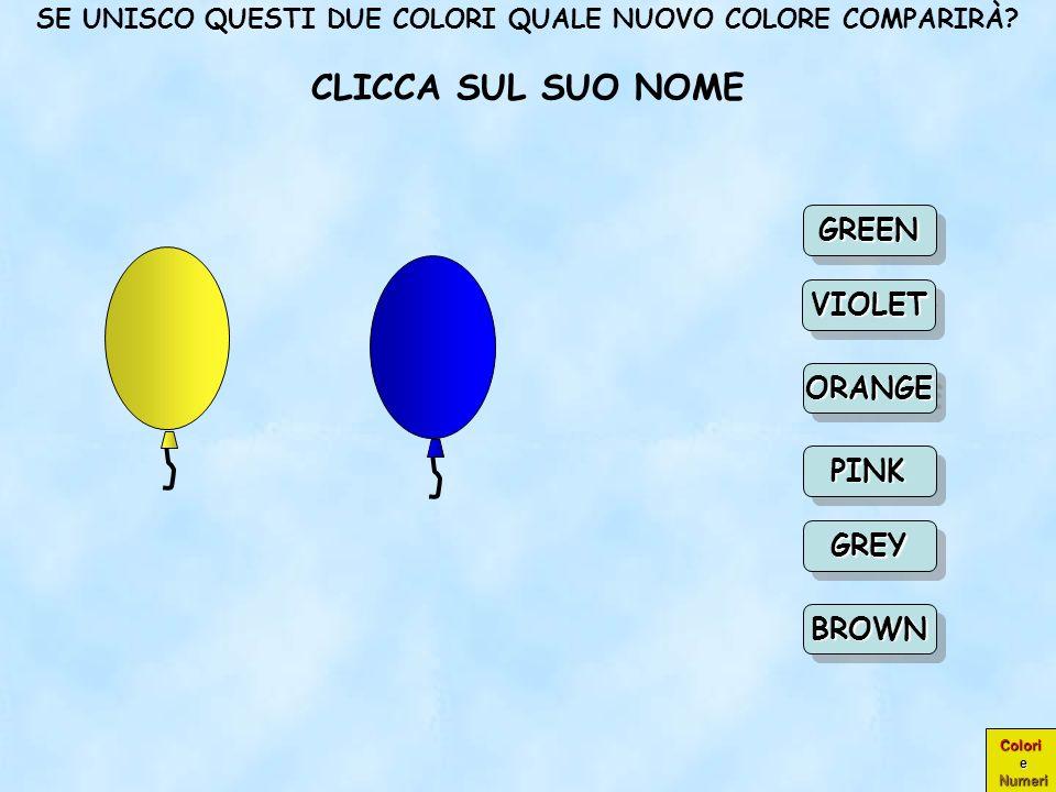 Colori e Numeri COMPLIMENTI! VIOLET CIOÈ VIOLA ORANGEORANGE GREEN PINK VIOLET BROWN GREY Scegli un Scegli un nuovo colore nuovo colore