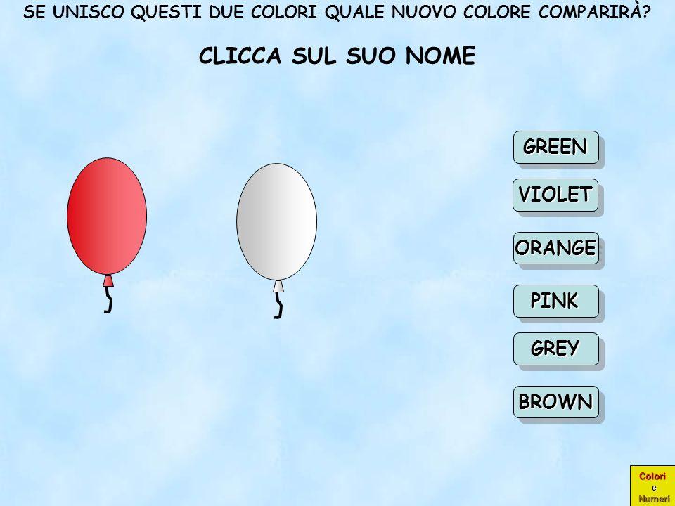 Colori e Numeri COMPLIMENTI! VERDE CIOÈ GREEN ORANGEORANGE GREEN PINK VIOLET BROWN GREY Scegli un Scegli un nuovo colore nuovo colore