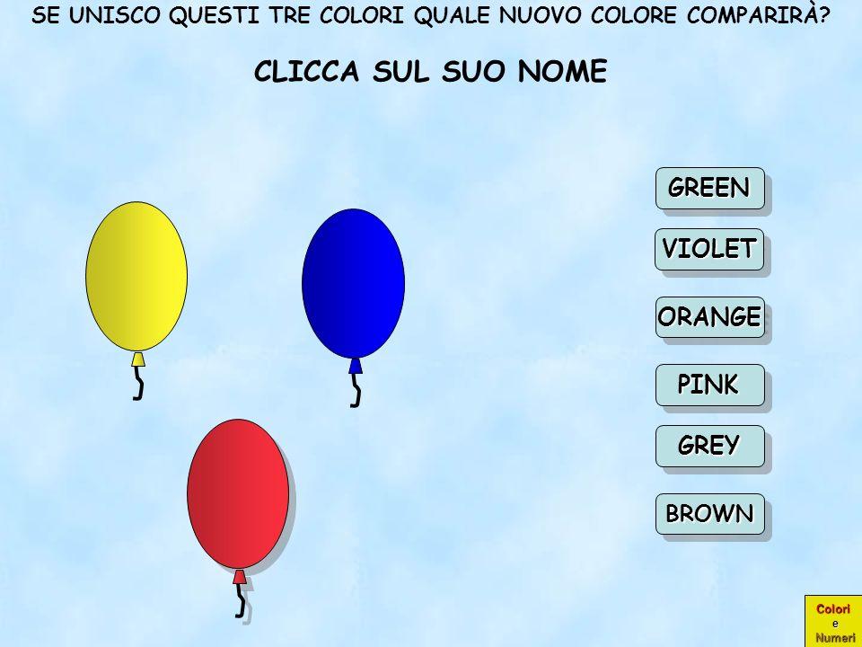 Colori e Numeri COMPLIMENTI! GRIGIO CIOÈ GREY ORANGEORANGE GREEN PINK VIOLET BROWN GREY Scegli un Scegli un nuovo colore nuovo colore