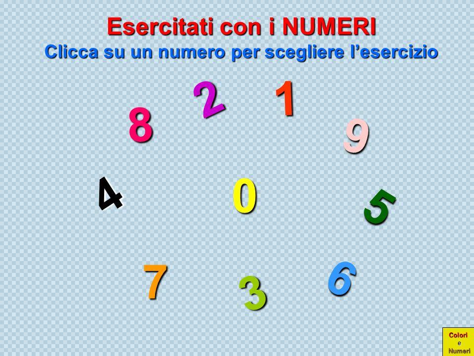 0 1 2 1 2 3 4 5 6 3 4 5 6 7 8 7 8 9 9 Colori e Numeri Ora che hai imparato i nomi dei numeri in inglese, prova con noi a verificare se li ricordi ZERO