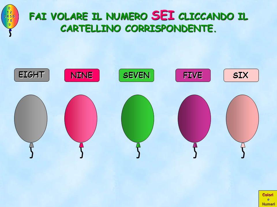 0 1 2 1 2 3 4 5 6 3 4 5 6 7 8 7 8 9 9 Colori e Numeri COMPLIMENTI! OTTO COMPLIMENTI! ERA PROPRIO IL NUMERO OTTO! NINE EIGHT SEVEN SIX FIVE