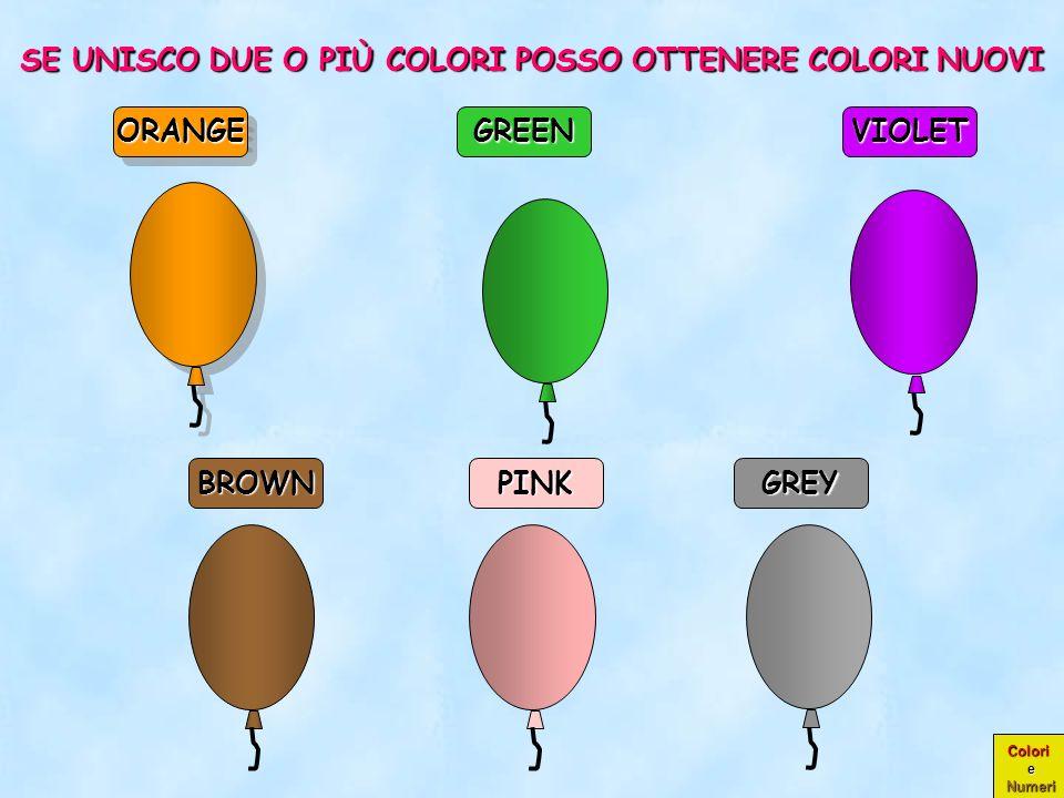 Colori e Numeri PINK GREY ORANGEORANGE GREENVIOLET BROWN SE UNISCO DUE O PIÙ COLORI POSSO OTTENERE COLORI NUOVI
