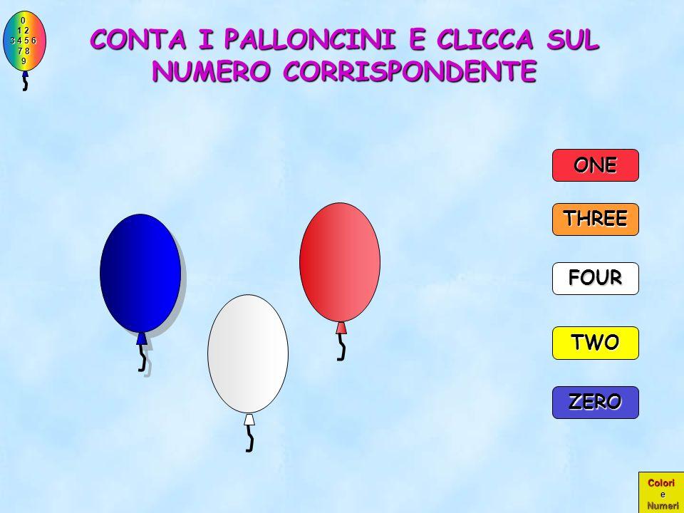 0 1 2 1 2 3 4 5 6 3 4 5 6 7 8 7 8 9 9 Colori e Numeri PERFETTO!! ERANO PROPRIO DUE PALLONCINI!! TWO THREE 2 ZERO ONE FOUR