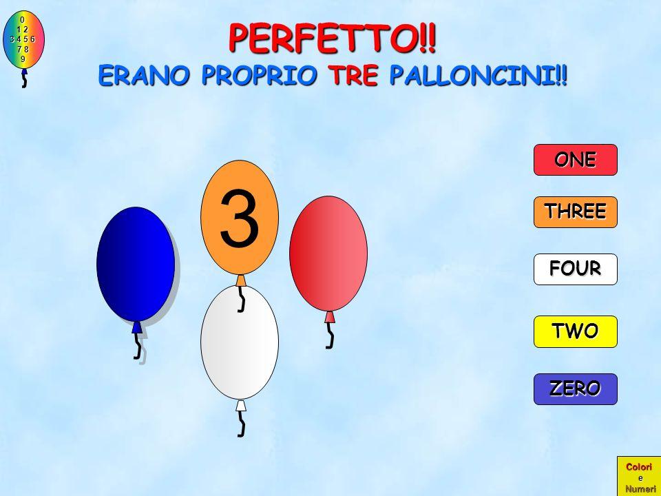 0 1 2 1 2 3 4 5 6 3 4 5 6 7 8 7 8 9 9 Colori e Numeri CONTA I PALLONCINI E CLICCA SUL NUMERO CORRISPONDENTE TWO THREE ONE ZERO FOUR