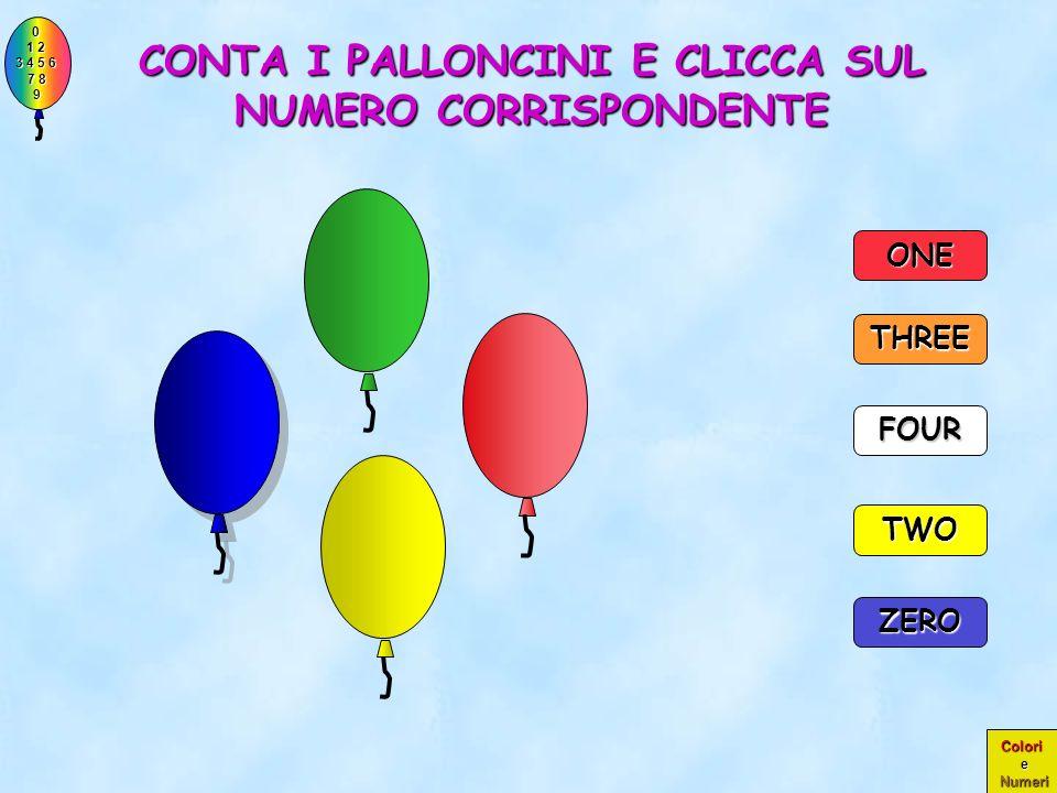 0 1 2 1 2 3 4 5 6 3 4 5 6 7 8 7 8 9 9 Colori e Numeri PERFETTO!! ERANO PROPRIO TRE PALLONCINI!! TWO THREE 3 ZERO ONE FOUR