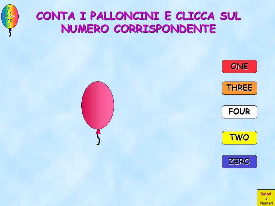 0 1 2 1 2 3 4 5 6 3 4 5 6 7 8 7 8 9 9 Colori e Numeri PERFETTO!! ERANO PROPRIO QUATTRO PALLONCINI!! TWO THREE ONE ZERO FOUR 4