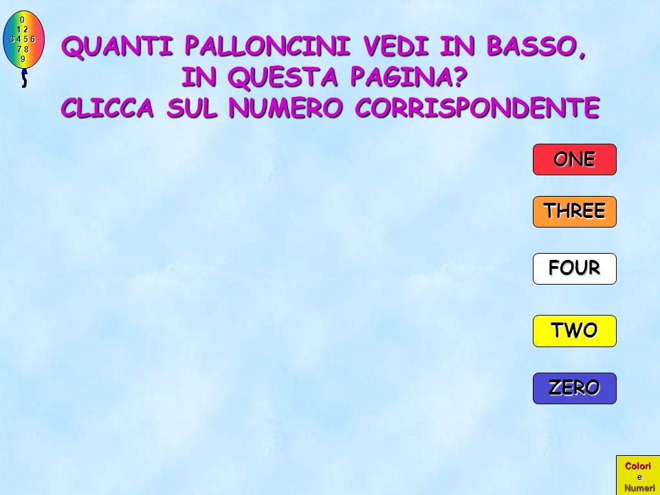 0 1 2 1 2 3 4 5 6 3 4 5 6 7 8 7 8 9 9 Colori e Numeri PERFETTO!! ERA PROPRIO UN PALLONCINO!! TWO THREE ONE ZERO FOUR 1