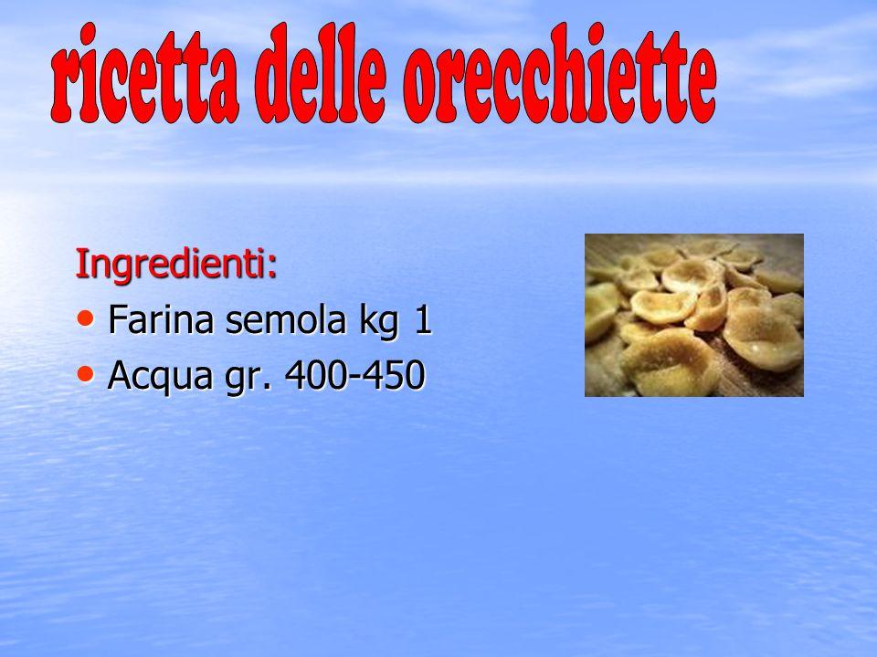 Ingredienti: Farina semola kg 1 Farina semola kg 1 Acqua gr. 400-450 Acqua gr. 400-450