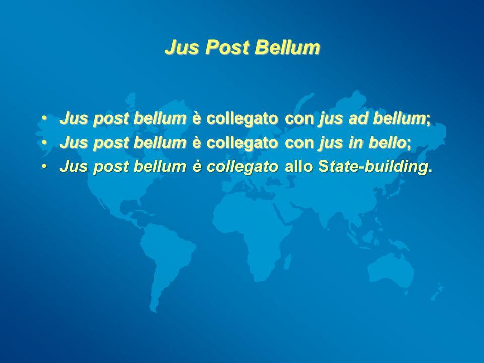 Jus Post Bellum Jus post bellum è collegato con jus ad bellum;Jus post bellum è collegato con jus ad bellum; Jus post bellum è collegato con jus in be