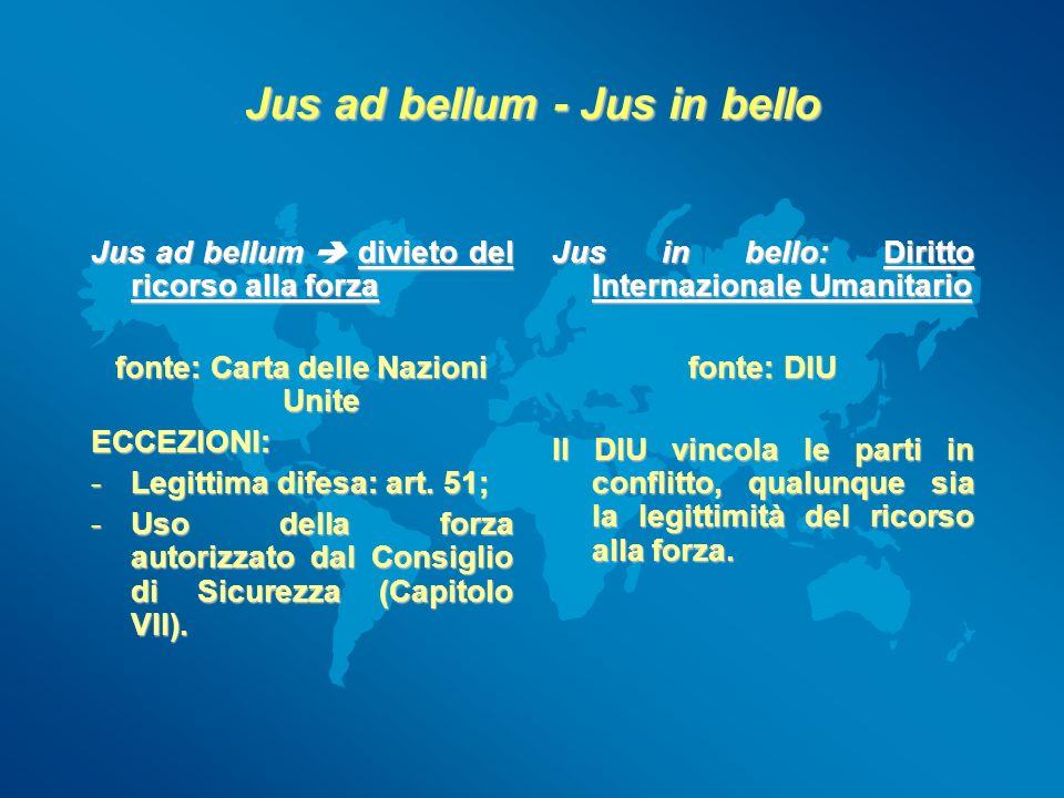 Jus ad bellum - Jus in bello Jus ad bellum divieto del ricorso alla forza fonte: Carta delle Nazioni Unite ECCEZIONI: -Legittima difesa: art. 51; -Uso
