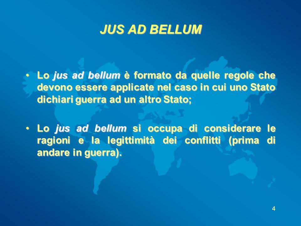 4 JUS AD BELLUM Lo jus ad bellum è formato da quelle regole che devono essere applicate nel caso in cui uno Stato dichiari guerra ad un altro Stato;Lo