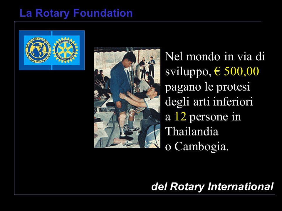 del Rotary International La Rotary Foundation Nel mondo in via di sviluppo, 500,00 pagano le protesi degli arti inferiori a 12 persone in Thailandia o Cambogia.