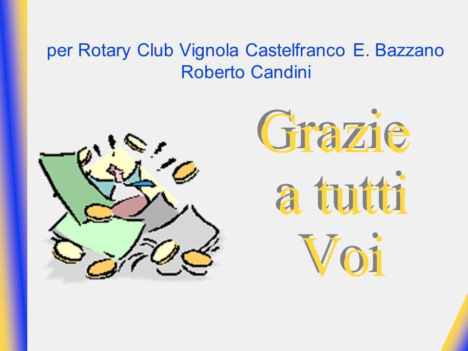 per Rotary Club Vignola Castelfranco E. Bazzano Roberto Candini Grazie a tutti Voi