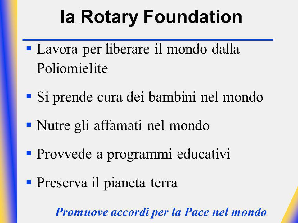 la Rotary Foundation Lavora per liberare il mondo dalla Poliomielite Si prende cura dei bambini nel mondo Nutre gli affamati nel mondo Provvede a programmi educativi Preserva il pianeta terra Promuove accordi per la Pace nel mondo