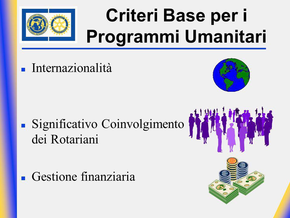 Criteri Base per i Programmi Umanitari n Internazionalità n Significativo Coinvolgimento dei Rotariani n Gestione finanziaria