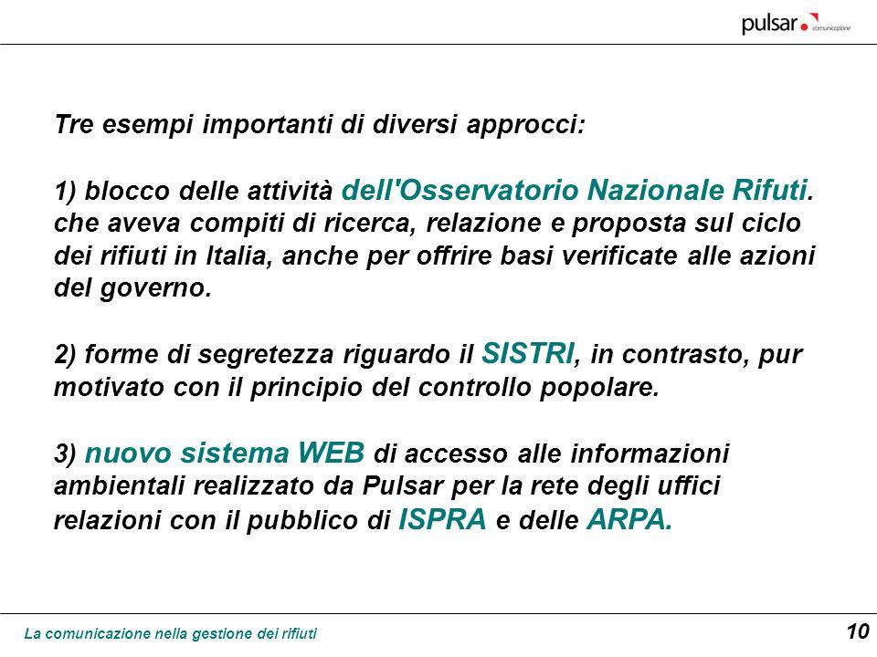 La comunicazione nella gestione dei rifiuti 10 Tre esempi importanti di diversi approcci: 1) blocco delle attività dell'Osservatorio Nazionale Rifuti.