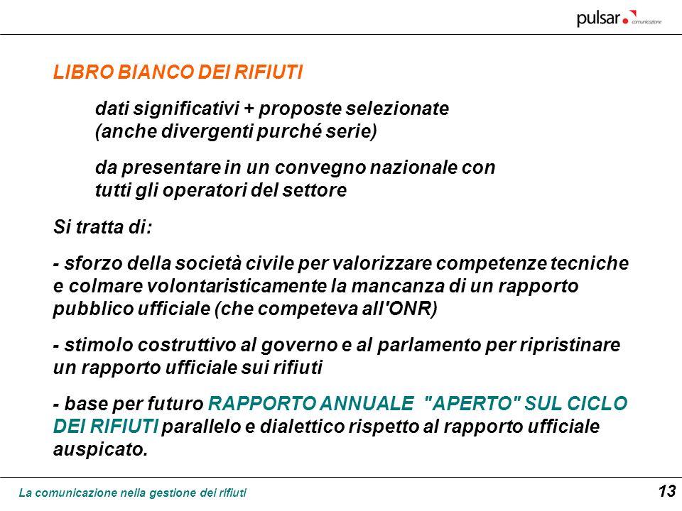 La comunicazione nella gestione dei rifiuti 13 LIBRO BIANCO DEI RIFIUTI dati significativi + proposte selezionate (anche divergenti purché serie) da p