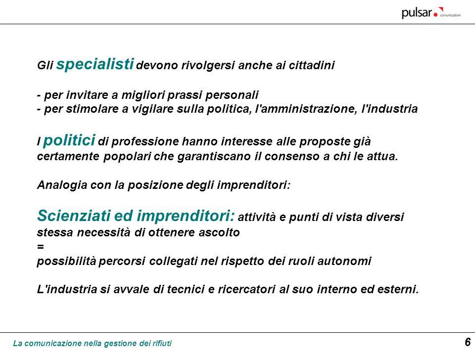 La comunicazione nella gestione dei rifiuti 7 specialisti imprese Stato -Parlamento -Governo -Organi P.A.