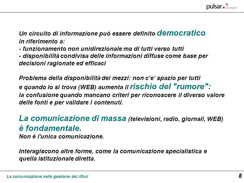 La comunicazione nella gestione dei rifiuti 9 La pubblica amministrazione italiana dispone di diverse istituzioni in grado di produrre e diffondere sia tramite la stampa, sia direttamente, informazione scientifica, anche in tema di rifiuti.
