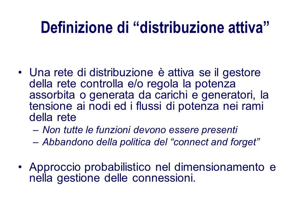 Definizione di distribuzione attiva Una rete di distribuzione è attiva se il gestore della rete controlla e/o regola la potenza assorbita o generata d