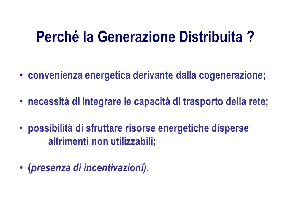 Perché la Generazione Distribuita ? convenienza energetica derivante dalla cogenerazione; necessità di integrare le capacità di trasporto della rete;