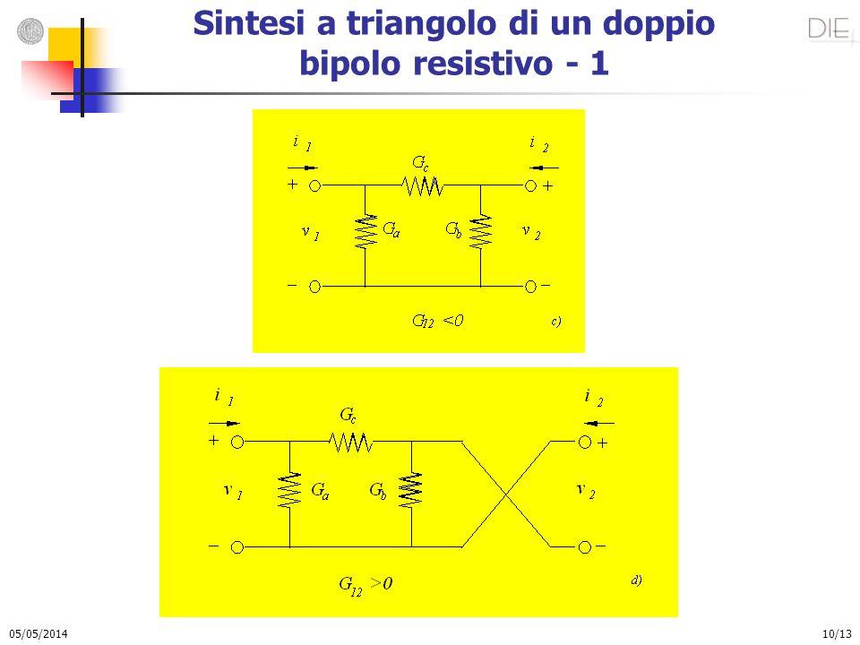 05/05/2014 10/13 Sintesi a triangolo di un doppio bipolo resistivo - 1
