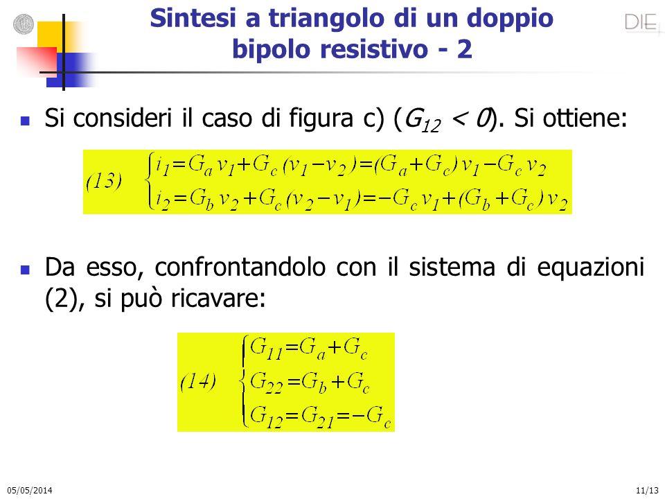 05/05/2014 11/13 Sintesi a triangolo di un doppio bipolo resistivo - 2 Si consideri il caso di figura c) (G 12 < 0). Si ottiene: Da esso, confrontando