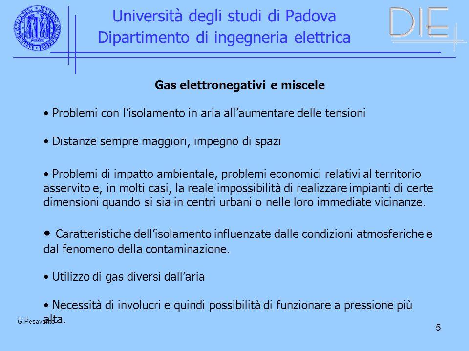 16 Università degli studi di Padova Dipartimento di ingegneria elettrica G.Pesavento Tensione di scarica con tensione alternata in funzione della pressione (1) senza particella estranea, (2) particella fissa, (3) particella libera di muoversi.