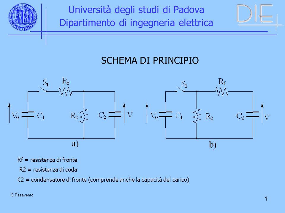 1 Università degli studi di Padova Dipartimento di ingegneria elettrica G.Pesavento SCHEMA DI PRINCIPIO Rf = resistenza di fronte R2 = resistenza di coda C2 = condensatore di fronte (comprende anche la capacità del carico)