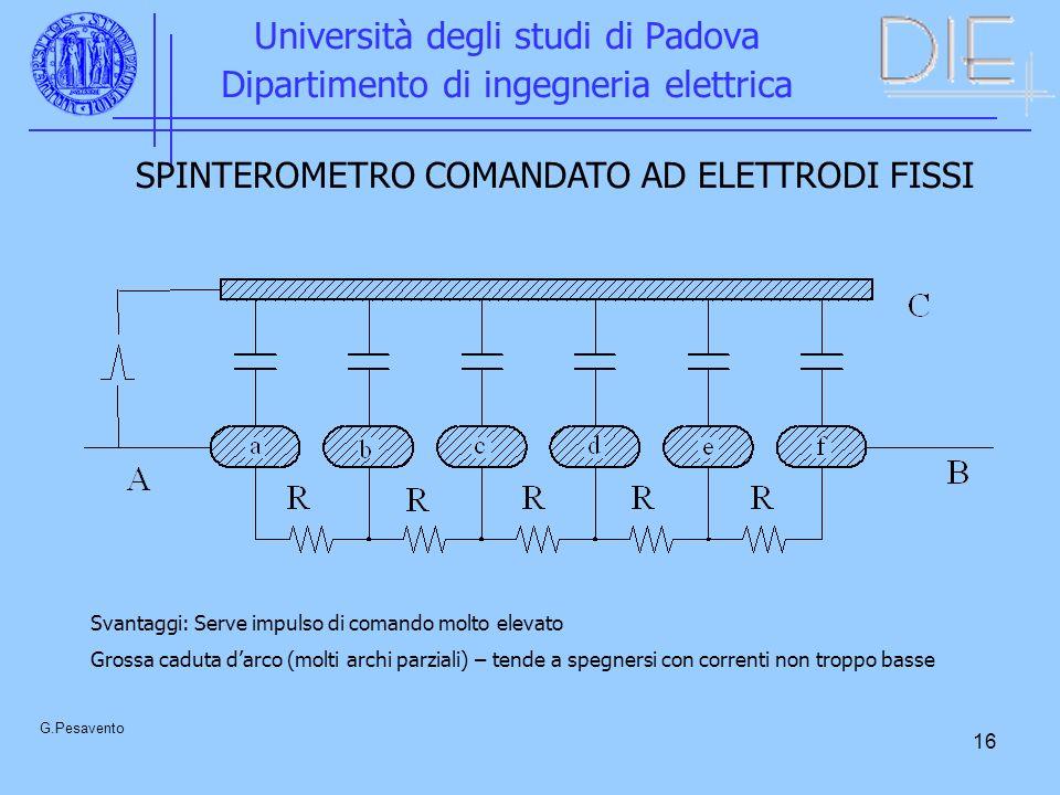 16 Università degli studi di Padova Dipartimento di ingegneria elettrica G.Pesavento SPINTEROMETRO COMANDATO AD ELETTRODI FISSI Svantaggi: Serve impul