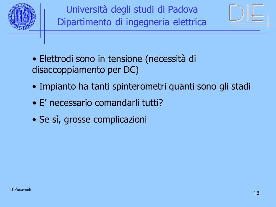 18 Università degli studi di Padova Dipartimento di ingegneria elettrica G.Pesavento Elettrodi sono in tensione (necessità di disaccoppiamento per DC) Impianto ha tanti spinterometri quanti sono gli stadi E necessario comandarli tutti.