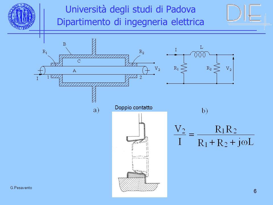 6 Università degli studi di Padova Dipartimento di ingegneria elettrica G.Pesavento Doppio contatto