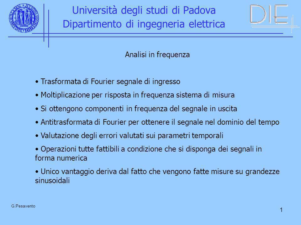 1 Università degli studi di Padova Dipartimento di ingegneria elettrica G.Pesavento Analisi in frequenza Trasformata di Fourier segnale di ingresso Mo