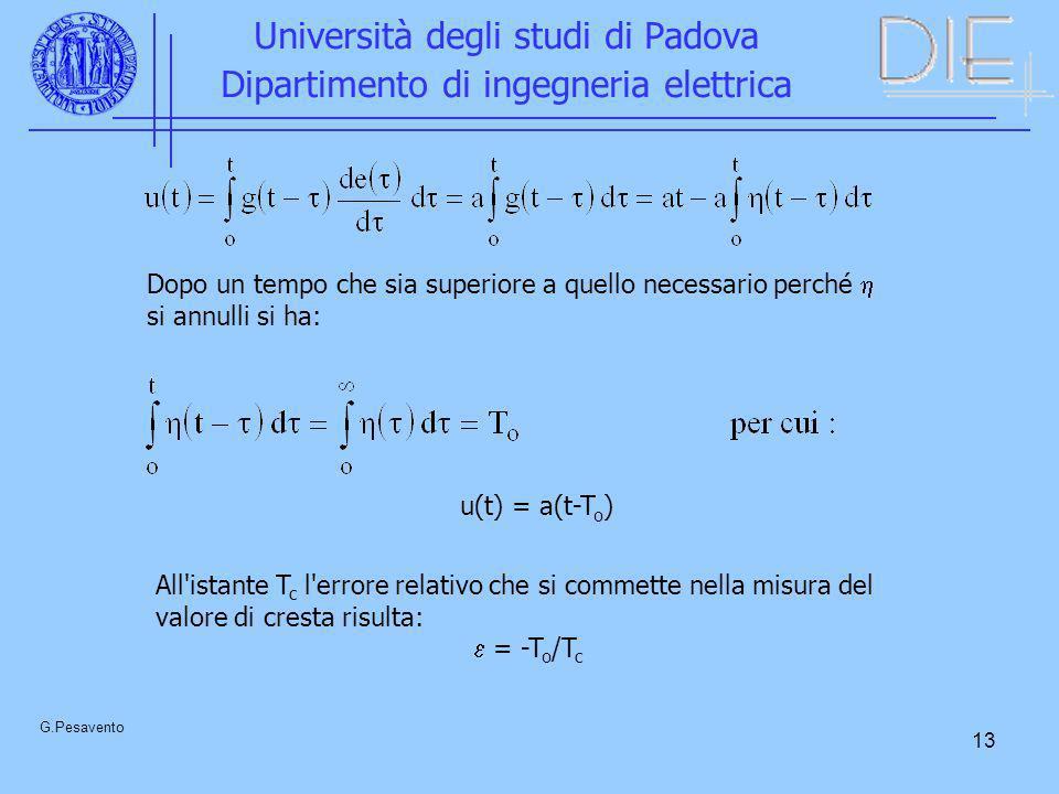 13 Università degli studi di Padova Dipartimento di ingegneria elettrica G.Pesavento u(t) = a(t-T o ) Dopo un tempo che sia superiore a quello necessa