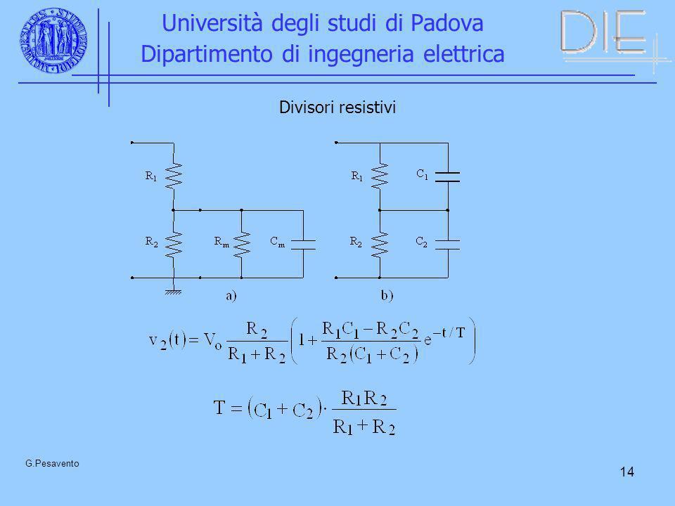 14 Università degli studi di Padova Dipartimento di ingegneria elettrica G.Pesavento Divisori resistivi