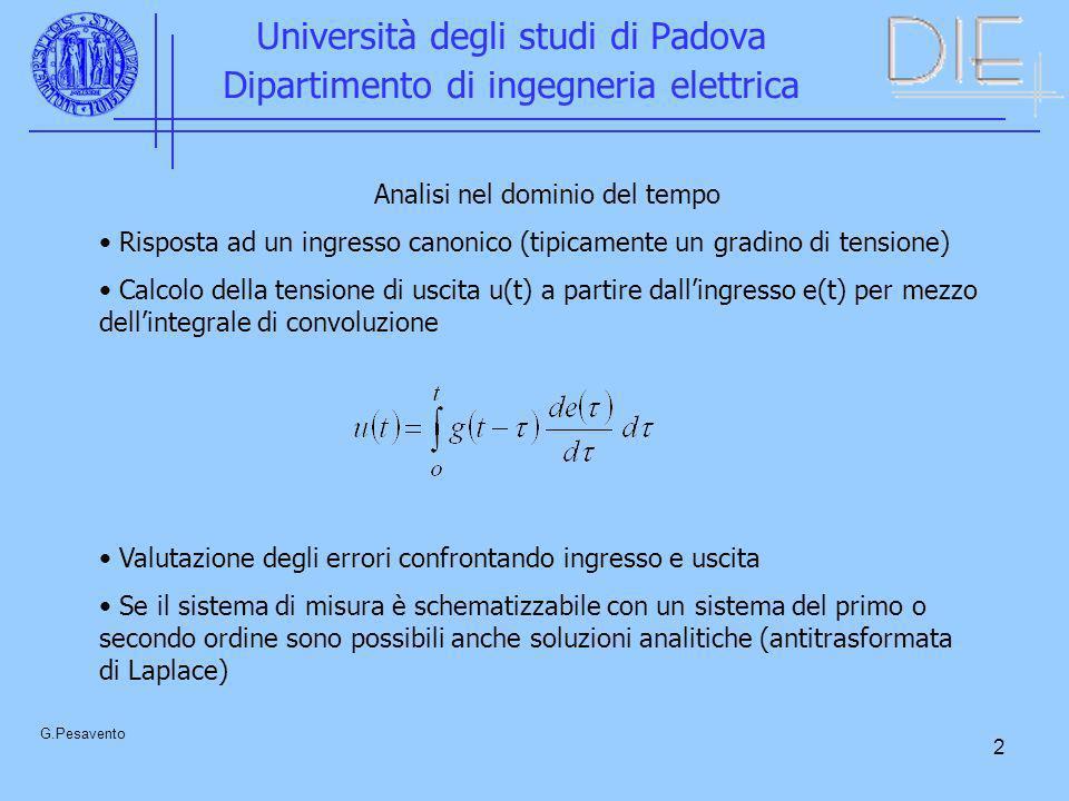 13 Università degli studi di Padova Dipartimento di ingegneria elettrica G.Pesavento u(t) = a(t-T o ) Dopo un tempo che sia superiore a quello necessario perché si annulli si ha: All istante T c l errore relativo che si commette nella misura del valore di cresta risulta: = -T o /T c