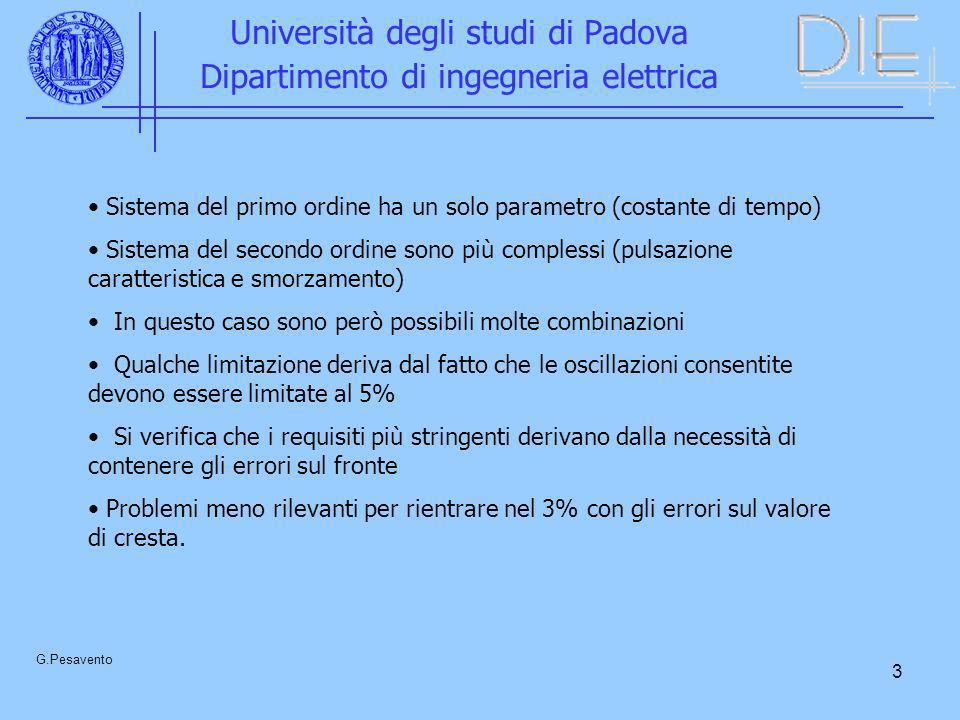 3 Università degli studi di Padova Dipartimento di ingegneria elettrica G.Pesavento Sistema del primo ordine ha un solo parametro (costante di tempo)