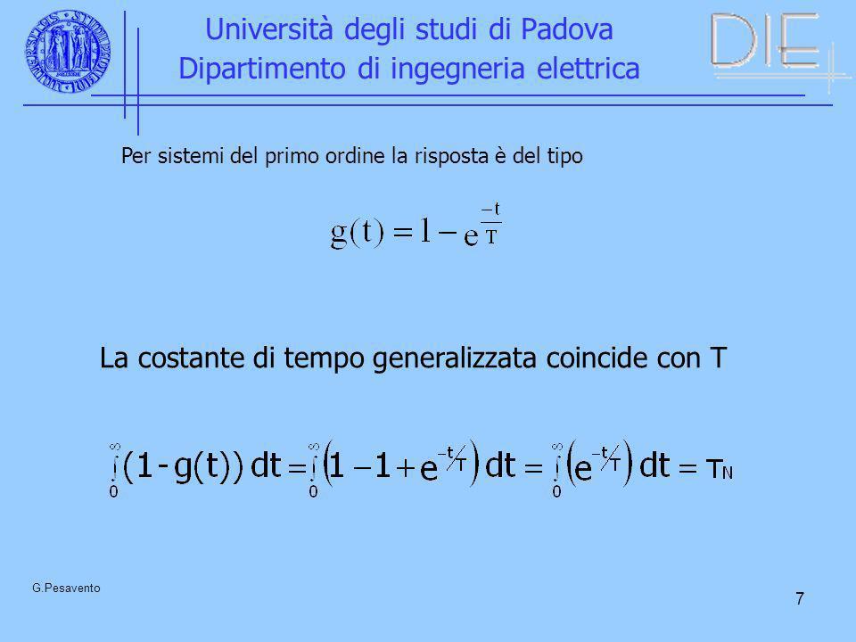 7 Università degli studi di Padova Dipartimento di ingegneria elettrica G.Pesavento Per sistemi del primo ordine la risposta è del tipo La costante di