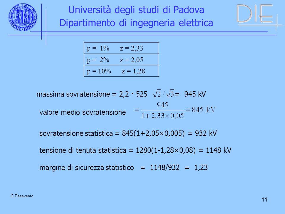 11 Università degli studi di Padova Dipartimento di ingegneria elettrica G.Pesavento p = 1% z = 2,33 p = 2% z = 2,05 p = 10% z = 1,28 massima sovratensione = 2,2 · 525 = 945 kV valore medio sovratensione sovratensione statistica = 845(1+2,05×0,005) = 932 kV tensione di tenuta statistica = 1280(1-1,28×0,08) = 1148 kV margine di sicurezza statistico = 1148/932 = 1,23