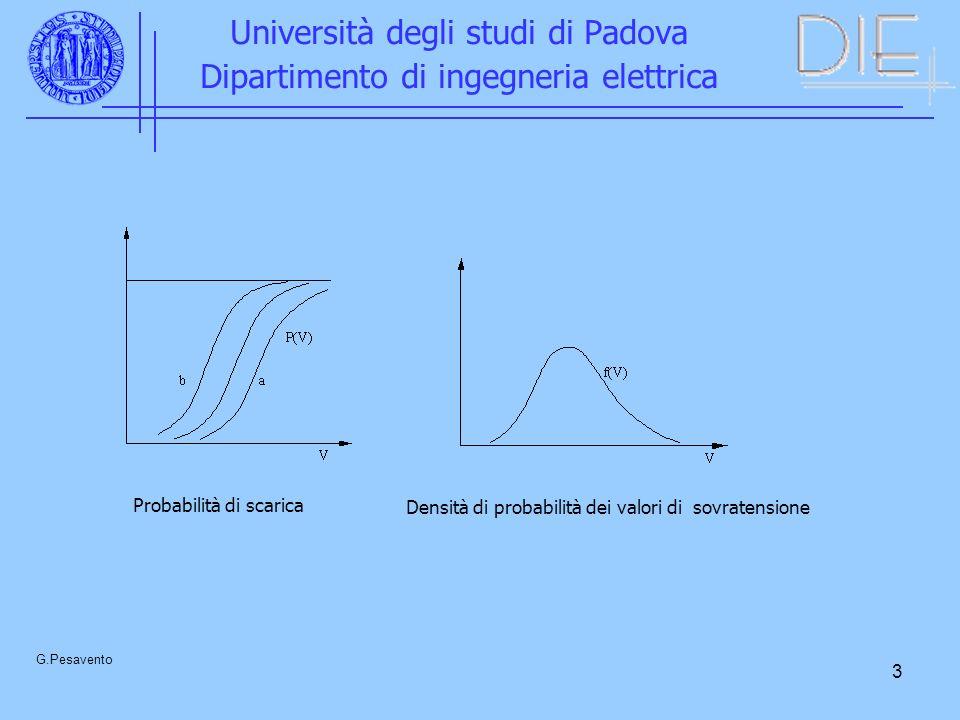 3 Università degli studi di Padova Dipartimento di ingegneria elettrica G.Pesavento Probabilità di scarica Densità di probabilità dei valori di sovratensione