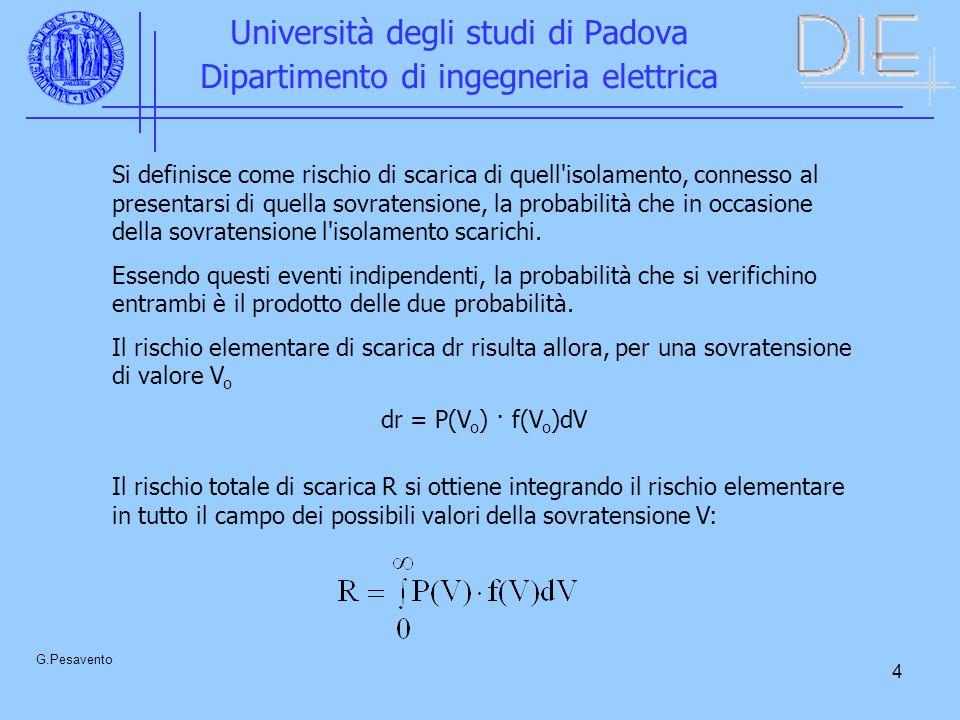 4 Università degli studi di Padova Dipartimento di ingegneria elettrica G.Pesavento Si definisce come rischio di scarica di quell isolamento, connesso al presentarsi di quella sovratensione, la probabilità che in occasione della sovratensione l isolamento scarichi.
