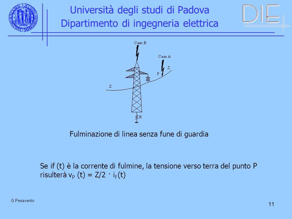 11 Università degli studi di Padova Dipartimento di ingegneria elettrica G.Pesavento Fulminazione di linea senza fune di guardia Se if (t) è la corren